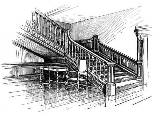 Stairway, table and chair
